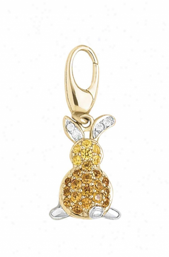 14k Two-tone Bunny Round Yellow Sappphire And Diamond Charm
