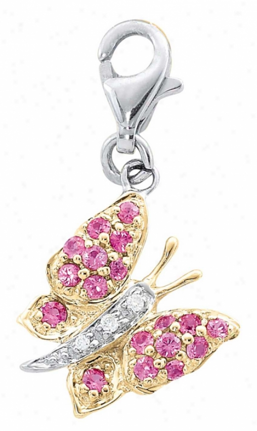 14k Two-tone Butterfly Pink Sapphire And Diamond Charm