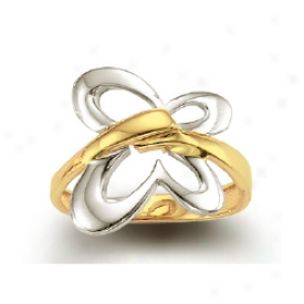 14k Two-tone Butterly Design Ring