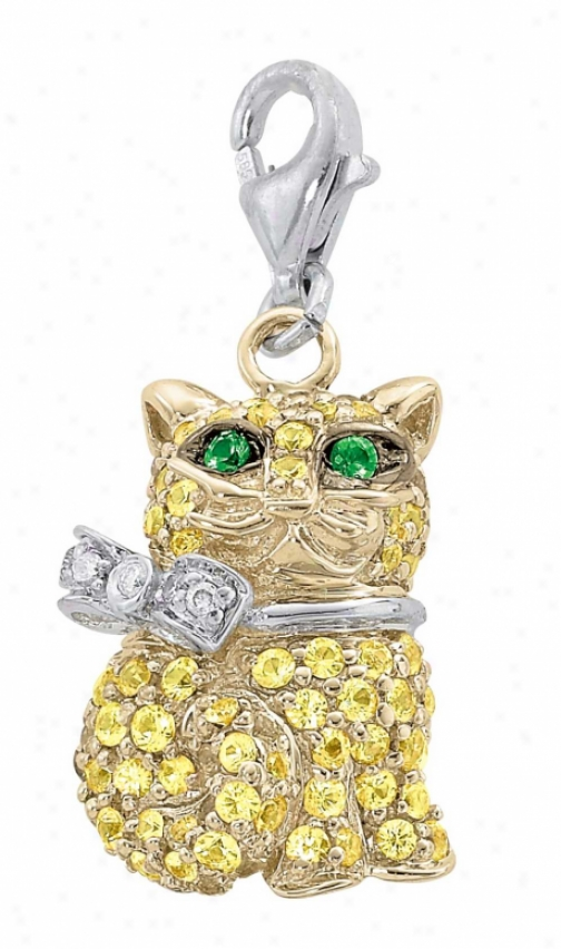 14k Two-tone Cat 1.5 Mm Yellow Sapphire And Diamond Charm