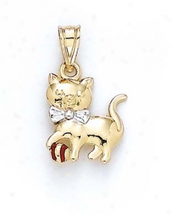 14k Two-tone Cat Pendant