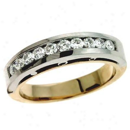14k Two-tone Channel-set Round 0.53 Ct Diamond Band Ring