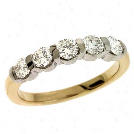 14k Two-tone Channel-set Round 0.9 Ct Diamond Band Ring