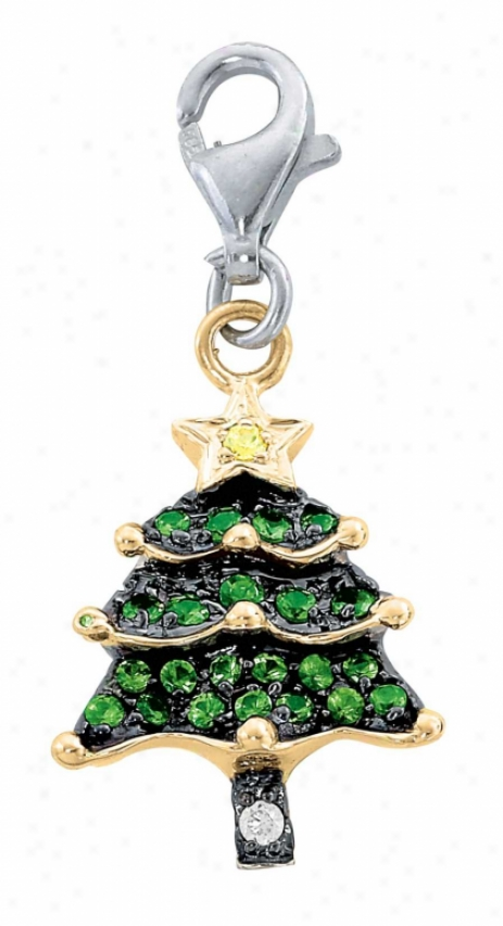 14k Two-tone Christmas Tree Green Garnet And Diamond Charm