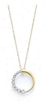 14k Two-tone Circle Journey Necklace Pendant