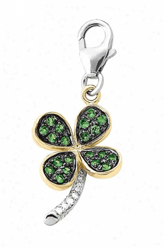 14k Two-tone Clover Leaf Green Garnet And Diamond Charm