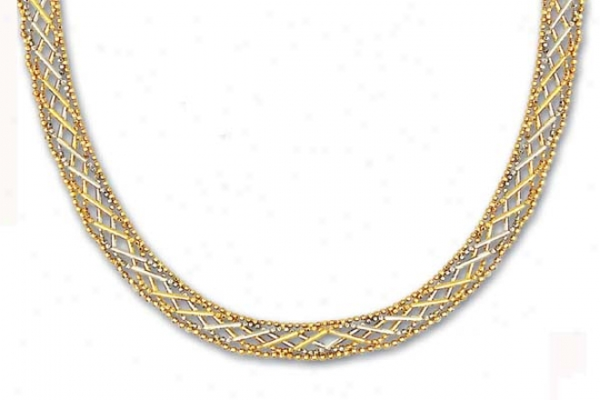 14k Two-tone Criss Cross Design Bead Necklace - 17 Inch