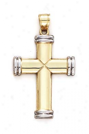 14k Two-tone Cross Cap End Vain scholar