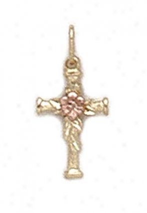 14k Two-tone Cross Pink Rose Pendant