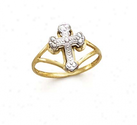 14k Two-tone Cross Ring