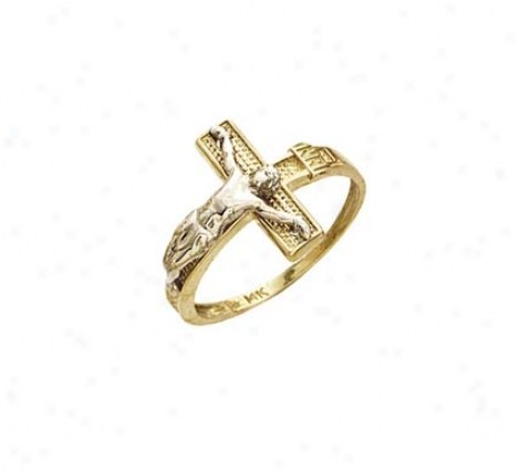 14k Two-tone Crucifix Mens Ring