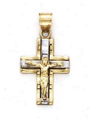 14k Two-tone Crucifix Appendix