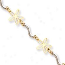 14k Two-tone Daisy Link Bracelet - 7.25 Inch
