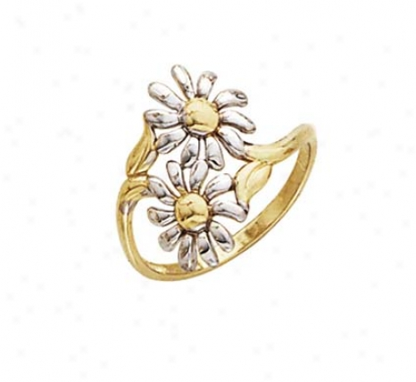 14k Two-tone Daisy Ring