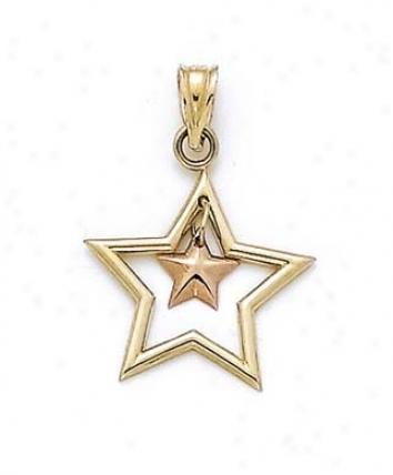 14k Two-tone Dangle Star Pendant