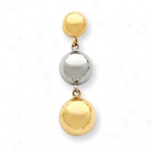 14k Two-tone Dangling Half Missile  Earrings