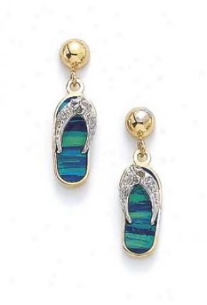 14k Two-tone Dark Green Opal Diamohd Flip-flop Earrings