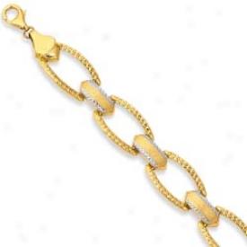 14k Two-tone Diamond Accentee Link Bracelet - 7.5 Inch