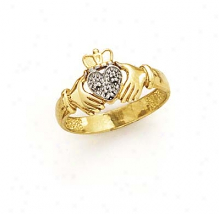 14k Two-tone Diamond Claddagh Ring