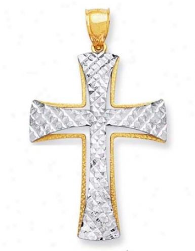 14k Two-tone Damond-cut Cross Pendant