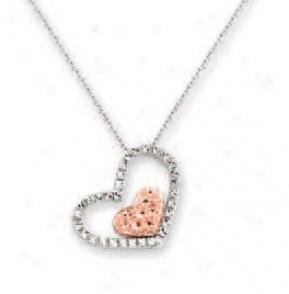 14k Two-toe Diamond-cut Double Heart Sha Necklace - 17 Inch