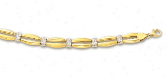 14k Two-tone Diamond-cut Fancy Bracelet - 8 Inch