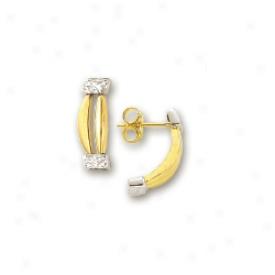 14k Two-tone Diamond-cut Fancy Earrings