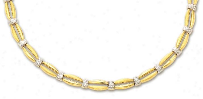 14k Two-tone Diamond-cut Fancy Necklace - 17 Inch