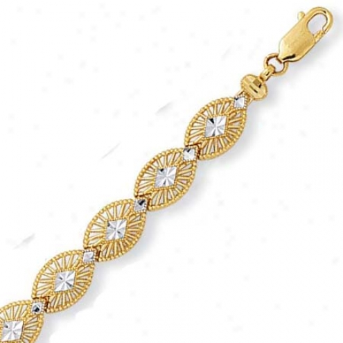 14k Two-tone Diamond-cut Filigree Design Bracelet - 7.25 In