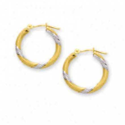 14k Teo-tone Diamond-cut Hoop Earrings