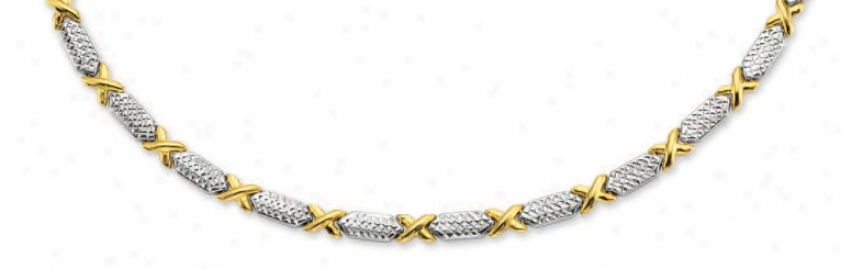 14k Two-tone Diamond-cut Pave Necklace - 17 Inch