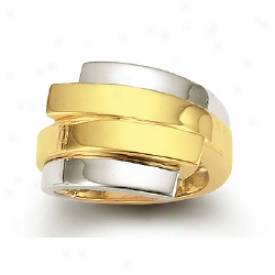 14k Two-tone Double Bypass Ring
