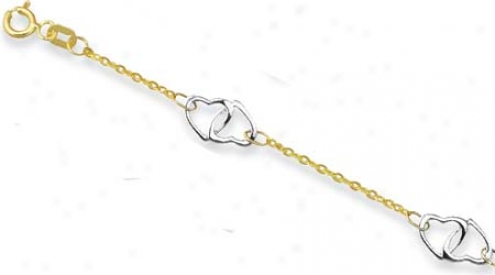 14k Two-tone Double Locked Hearrts Anklet - 10 Inch