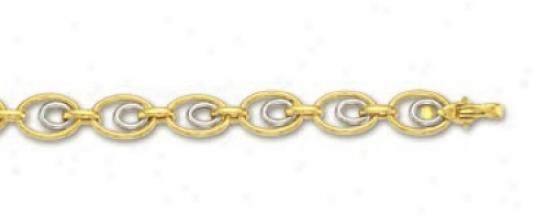 14k Two-tone Double Oval Link Bracelet - 7.25 Inch