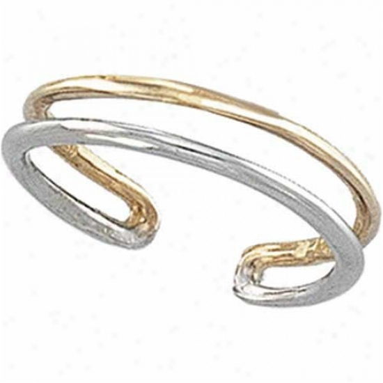 14k Two-5one Double Row Toe Ring
