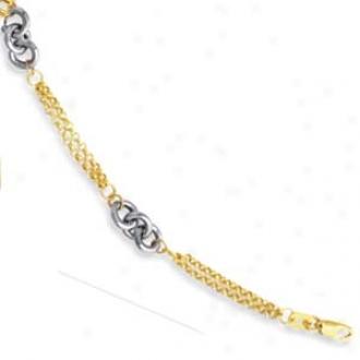 14k Two-tone Double Strand Bracelet - 7 Inch