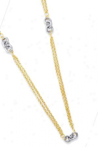 14k Two-tone Double Strand Necklace - 17 Inch