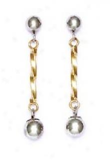 14k Two-tone Drop Friction-back Post Earrings