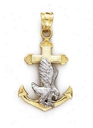 14k Two-tine Eagle On Anchor Pendant