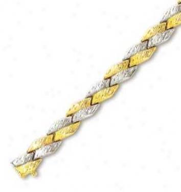 14k Two-tone Elegant Fancy Design Bracelet - 7.5 Inch