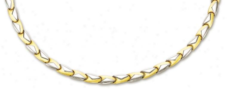 14k Two-tone Elegant Fancy Design Necklace - 17 Inch