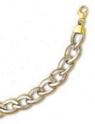 14k Two-tone Elegant Overlap Link Bracelet - 7.5 Inch