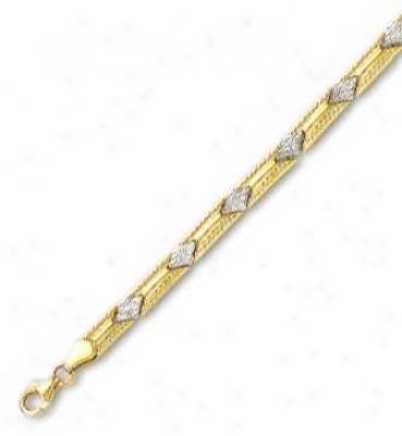 14k Two-tone Elegant Station Bracelet - 7.25 Inch