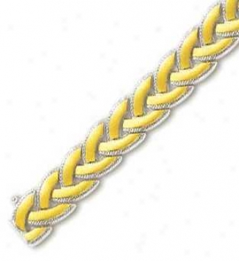 14k Two-tone Elegant Woven Design Bracelet - 7.5 Inch