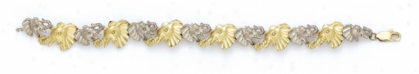 14k Two-tone Elephant Head Bracelet - 7.25 Inch