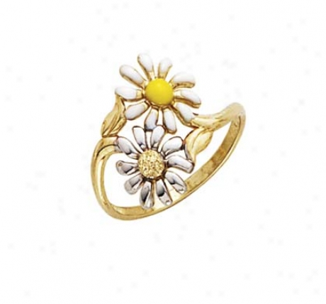 14k Two-tone Enamel Double Flower Ring