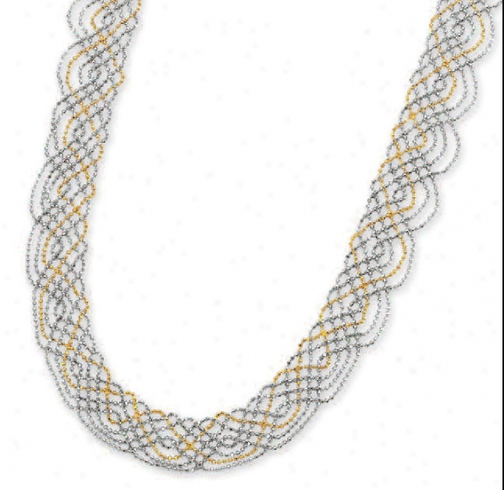 14k Two-tone Fancy Bead Necklace - 17 Inch