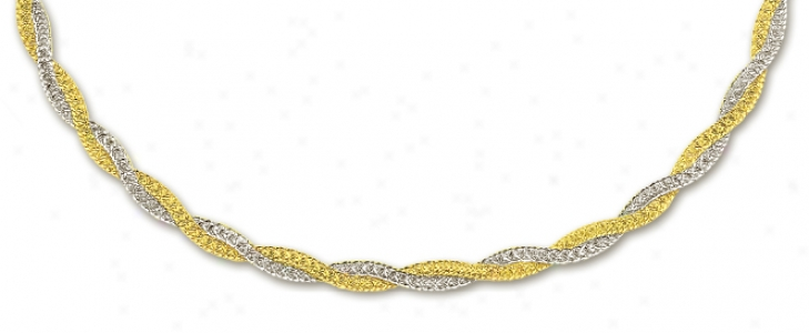 14k Two-tone Fancy Braided Mesh Necklace - 17 Inch