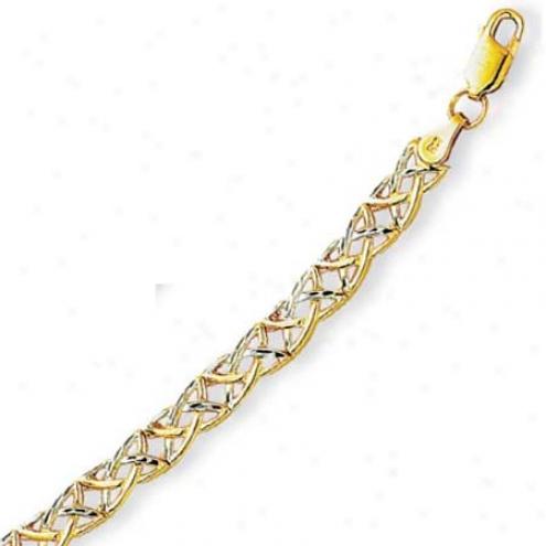14k Two-tonr Fancy Celtic Bracelet - 7.25 Inch