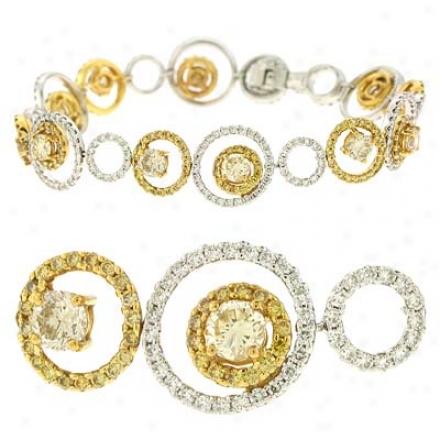 14k Two-tone Fancy Color 6.3 Ct Diamond Bracelet